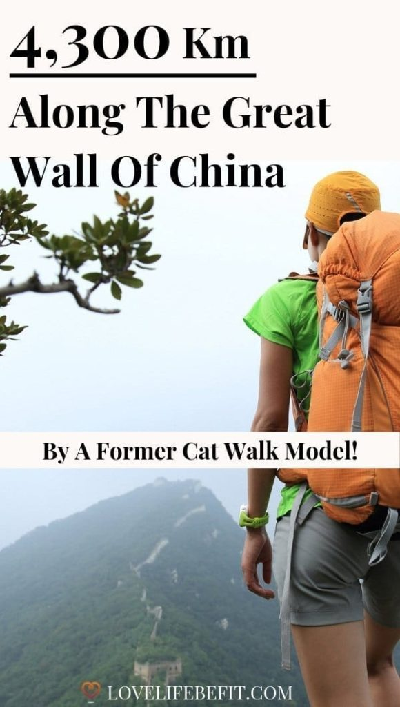 Katie L'Herpiniere, with her soon to be husband Tarka, ditched the cat-walk to trek 4,300 km along the entire length of the Great Wall of China #greatwallofchina #adventure #trekking